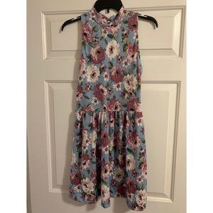 Purple and Blue Floral Pattern Mini Dress